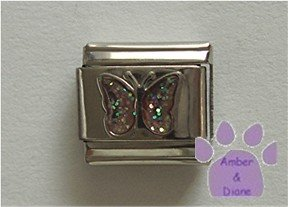 Glitter Butterfly Birthstone Italian Charm Opal-Pink for October