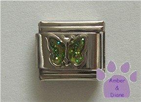 Glitter Butterfly Birthstone Italian Charm Peridot-Green  August