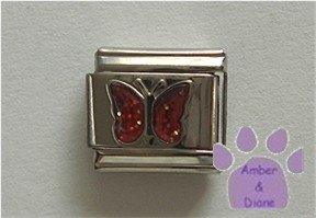 Glitter Butterfly Birthstone Italian Charm Ruby-Red for July
