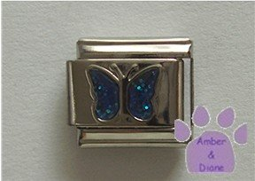 Glitter Butterfly Birthstone Italian Charm Sapphire-Blue  Sept