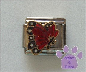 January BUTTERFLY Birthstone with deep red-garnet glitter wings