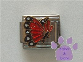 July BUTTERFLY Birthstone with red-ruby glitter wings