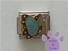 March BUTTERFLY Birthstone pale blue-aquamarine glitter wings