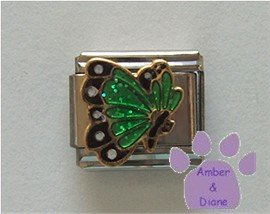 May BUTTERFLY Birthstone with green-emerald glitter wings