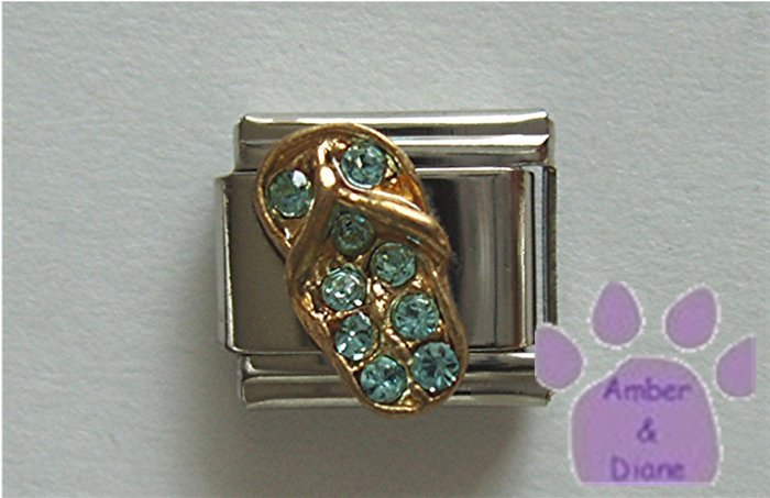 Flip Flop Crystal Birthstone Italian Charm Aquamarine-blue March