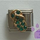 Flip Flop Crystal Birthstone Italian Charm Emerald-Green for May