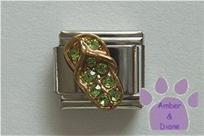 Flip Flop Crystal Birthstone Italian Charm Peridot-Green for August