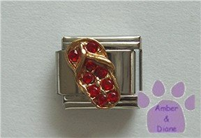 Flip Flop Crystal Birthstone Italian Charm Ruby-Red for July