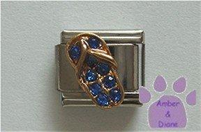 Flip Flop Crystal Birthstone Italian Charm Sapphire-Blue September