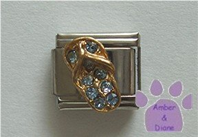 Flip Flop Crystal Birthstone Italian Charm Zircon-Blue for December
