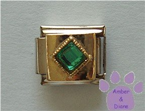 Diamond Shaped Emerald Crystal Birthstone Italian Charm for May