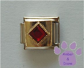 Diamond Shaped Garnet Crystal Birthstone Italian Charm January