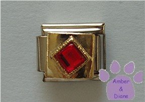 Diamond Shaped Ruby Crystal Birthstone Italian Charm for July
