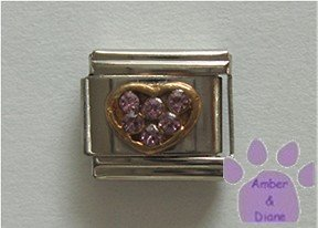 Heart Crystal Birthstone Italian Charm Alexandrite-Purple for June