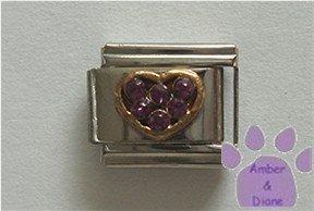 Heart Crystal Birthstone Italian Charm Amethyst-Purple for February