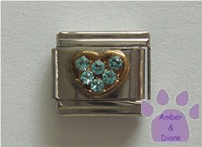 Heart Crystal Birthstone Italian Charm Aquamarine-blue for March