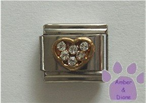 Heart Crystal Birthstone Italian Charm Diamond-Clear for April