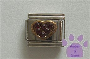 Heart Crystal Birthstone Italian Charm Garnet-Red for January