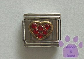 Heart Crystal Birthstone Italian Charm Ruby-Red for July