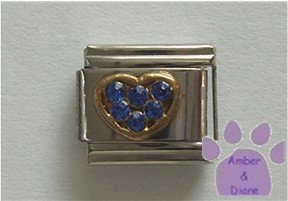 Heart Crystal Birthstone Italian Charm Sapphire-Blue for September
