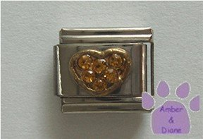 Heart Crystal Birthstone Italian Charm Topaz-Yellow for November