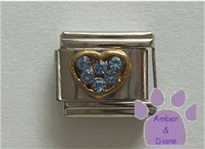 Heart Crystal Birthstone Italian Charm Zircon-Blue for December
