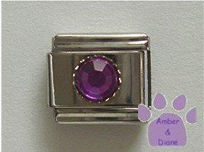 Round Crystal Birthstone Italian Charm Amethyst-Purple for February