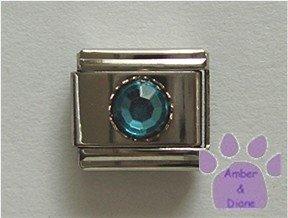 Round Crystal Birthstone Italian Charm Aquamarine-blue for March