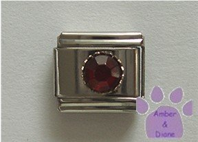 Round Crystal Birthstone Italian Charm Garnet-Red for January