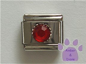 Round Crystal Birthstone Italian Charm Ruby-Red for July