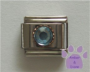 Round Crystal Birthstone Italian Charm Zircon-Blue for December