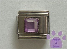 Square Crystal Birthstone Italian Charm Alexandrite-Purple for June