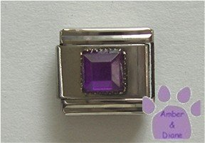 Square Crystal Birthstone Italian Charm Amethyst-Purple for February