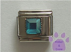 Square Crystal Birthstone Italian Charm Aquamarine-Blue  March