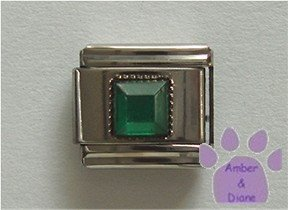 Square Crystal Birthstone Italian Charm Emerald-Green for May