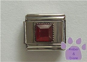 Square Crystal Birthstone Italian Charm Garnet-Red for January