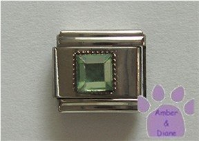 Square Crystal Birthstone Italian Charm Peridot-Green for August