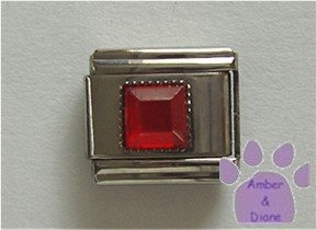 Square Crystal Birthstone Italian Charm Ruby-Red for July