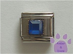 Square Crystal Birthstone Italian Charm Sapphire-Blue for September