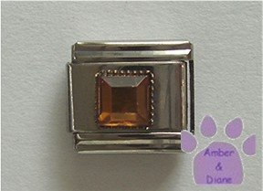 Square Crystal Birthstone Italian Charm Topaz-Yellow for November