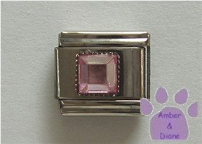 Square Crystal Birthstone Italian Charm Tourmaline-Pink for October
