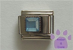 Square Crystal Birthstone Italian Charm Zircon-Blue for December