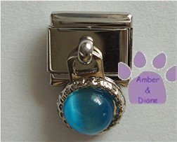 Round Dangle Aquamarine Cats Eye Birthstone Italian Charm March