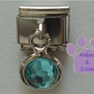 Round Dangle Aquamarine Crystal Birthstone Italian Charm March