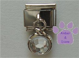 Round Dangle Clear Crystal Birthstone Italian Charm for April