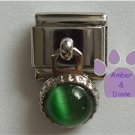 Round Dangle Emerald Cats Eye Birthstone Italian Charm for May