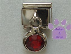 Round Dangle Garnet Crystal Birthstone Italian Charm for January
