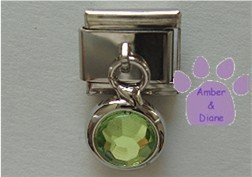 Round Dangle Peridot Crystal Birthstone Italian Charm for August