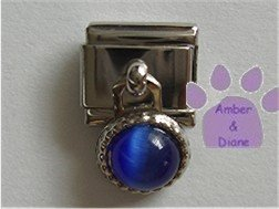 Round Dangle Sapphire Cats Eye Birthstone Italian Charm September