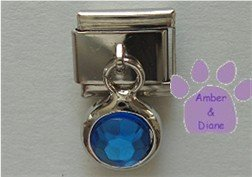 Round Dangle Sapphire Crystal Birthstone Italian Charm September